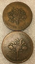 Lot of 2 coins Lower Canada 1 Sou Token Agriculture & Commerce