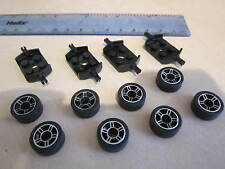 Lego 8 x Silver Spoke Sport Wheel (alloy style) + Tyres + 4 Black Axle Plates