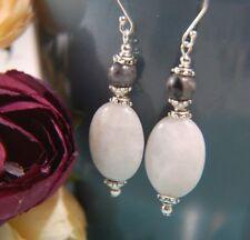 White AGATE & Grey LABRADORITE Gemstone STERLING SILVER Earrings