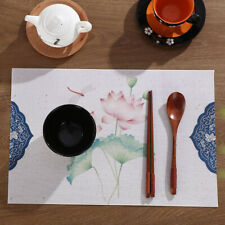 Ink Flower Placemat Dining Table Insulation Pad Tableware Utensil Kitchen ONE