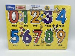 Disney Melissa &Doug NumbersWooden Peg Puzzle (10 pcs) New Sealed Mickey Minnie