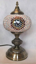 Turkish Lamp Large Moroccan Table Light LED Swan With Multi Coloured Glass