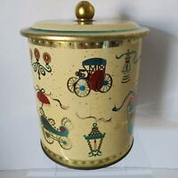 1950s Mid Century MCM Tin Gold Trim Atomic Pattern Victorian Motifs Tea Cookies