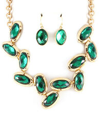 Bib Style Oval Glass Stone Faceted Necklace Set  Emerald Green