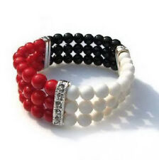 3 Row Real White Tridacna Red Coral Black Agate 18KWGP Crystal Stretchy Bracelet