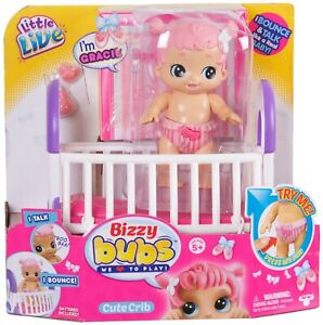Little Live Bizzy Bubs Babies Bouncing Baby Girl Doll Gracie with Crib 28475 NEW