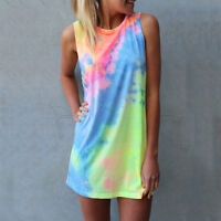 Womens Tie Dye Sleeveless Vest Dress Casual Summer Beach Loose Tank Top Sundress