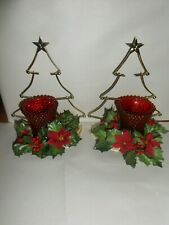 2 Home Interior Brass Plated Tree Sconces with Two Red Hobnail Votive Cups