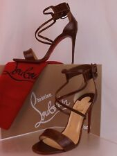 NIB LOUBOUTIN CHOCA BROWN CROC EMBOSSED LEATHER BUCKLE ANKLE STRAP PUMPS 39.5