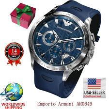 100% Authentic Emporio Armani Blue Dial Blue Rubber Strap Men's Watch AR0649