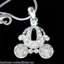 w Swarovski Crystal ~Cinderella Wedding Princess Pumpkin Carriage Charm Necklace