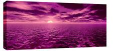 "LARGE PINK PURPLE SEASCAPE SUNSET CANVAS ARTWORK 44x20"""