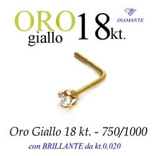 Piercing naso nose ORO GIALLO 18kt.DIAMANTE kt.0,020 a griff yellow GOLD DIAMOND