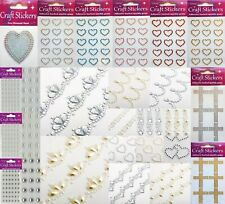 Self Adhesive Craft Stickers Diamante Embellishments Rhinestones Hearts Crowns
