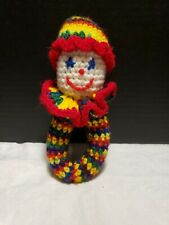 Vintage Crochet Rainbow Clown Baby Rattle
