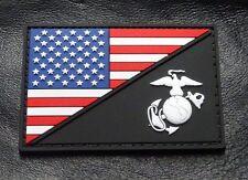 Usa Marine Corps Ega / Usa Flag 3 inch Marine Patch  (HOOK-3D PVC Rubber-PVM1)