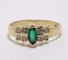 10K YELLOW GOLD EMERALD & DIAMOND RING SIZE 6.5 Women