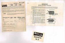 Old Monogram SLOT CAR Warranty Card from SET + Inspection + Instruction Sheet