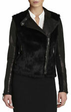 NWT NEW  $498 BCBG Meghan black rabbit fur leather moto biker jacket sz S 6 8