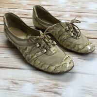 Sesto Meucci Nude Croc Embossed Leather Lace Up Shoes Women's Size 8M Italy