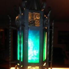 VINTAGE SPANISH GOTHIC WROUGHT IRON  & STAINED GLASS HANGING LAMP