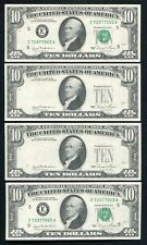 """(4) Consecutive 1981 $10 Frn'S """"Overprint On Back Errors� Gem Uncirculated"""