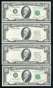 "(4) CONSECUTIVE 1981 $10 FRN'S ""OVERPRINT ON BACK ERRORS"" GEM UNCIRCULATED"