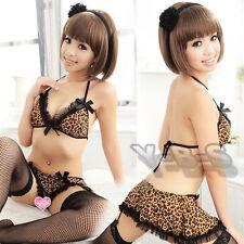 Women's Sexy Lace Babydoll Dress Leopard Sleepwear Underwear G-string Lingerie