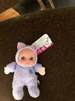 JC Toys Berenguer Lil Hugs Soft Rattle Purple Cat  Doll, 5'' Soft Plush New