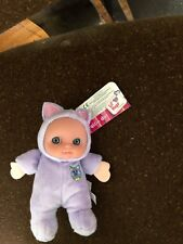 JC Toys Berenguer Lil Hugs Soft Rattle Purple Cat  Doll, 5'' Soft Plush New