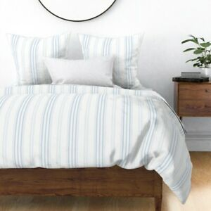 Blue And White Vertical Stripe Stripes Blueberry Sateen Duvet Cover by Roostery
