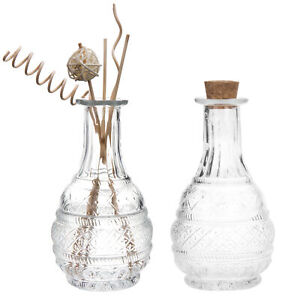MyGift Set of 2 Antique Style Embossed Apothecary Glass Bottle with Cork Lid