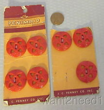 "30s vtg set 7 RED PLASTIC BUTTONS 1"" pierced openwork Penimaid JC Penney card"