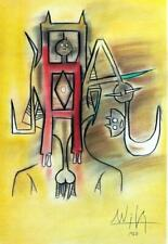 WILFREDO LAM Awesome Colored Graphite Technique Drawing on Paper Signed. 1960