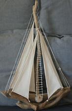 See Holzsegel H35 cm Tischdeko Seefahrer 1 x Boot Woody Beton weiß m Schiff