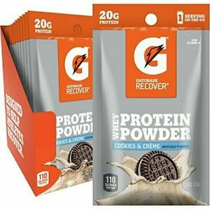 Gatorade Recover 20g Whey Protein Powder Pks 12Ct Cookie & Creme Amino Acid 1/21