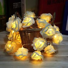 20LED Rose Flower Battery Garden Christmas String Garland Decor Light Warm white