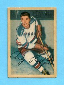 1953-54 Parkhurst #56 Andy Bathgate NY Rangers Rookie Hockey Card VG+ ap wrks