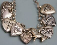 Vintage!! Sterling Silver 8 Puffy Hearts, a Donkey Charm and Bracelet FS