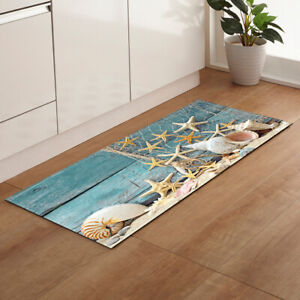 Flannel Ocean Starfish Seashell Anti-Slip Kitchen Rug Area Floor Mat Bath Carpet