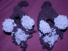 baby schuhe gr 15 16 söckchen handgestrickt 0 - 3 mon lila mäuse handarbeit DIY