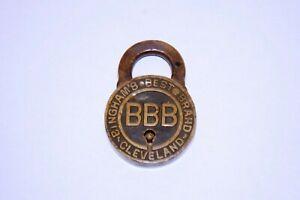 Antique Rare 1908 BINGHAM'S BEST BRAND Brass Lock Obsolete Logo Padlock BBB