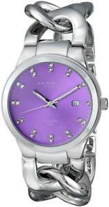 Akribos XXIV AK759SSPU Swiss Quartz Date Diamond Dial Purple dial Womens Watch