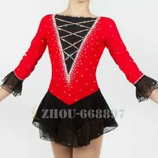 Figure Skating Dress Gymnastics custome Dress Dance Competition red black cute