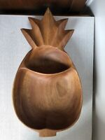 """Pineapple Hand Carved Wooden sectioned Bowl Acacia Wood Made In Philippines 14"""""""