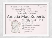 newborn personalised print elephant girl nursery christening gift new baby birth