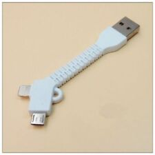 2in1 Key Ring Short Charger Micro USB Cable for iPhone 8 7 6S X Galaxy S6 S7 S4