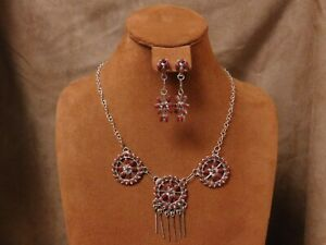 Sterling Silver Coral Necklace and Earrings Set