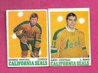 1970-71 OPC SEALS GARY CROTEAU RC + DENNIS HEXTALL EX-MT  CARD  (INV# D2621)