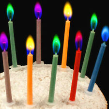12pcs Colorful Mixed Candles Safe Flames Child Birthday Party Cake Decorations